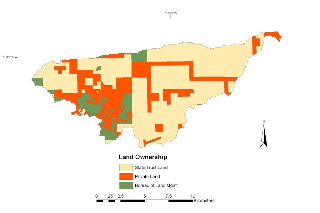 Map Of Arizona Land Ownership.Walnut Gulch Land Ownership Map